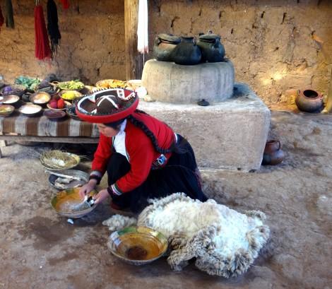 Nettoyage de la laine d'Alpaga